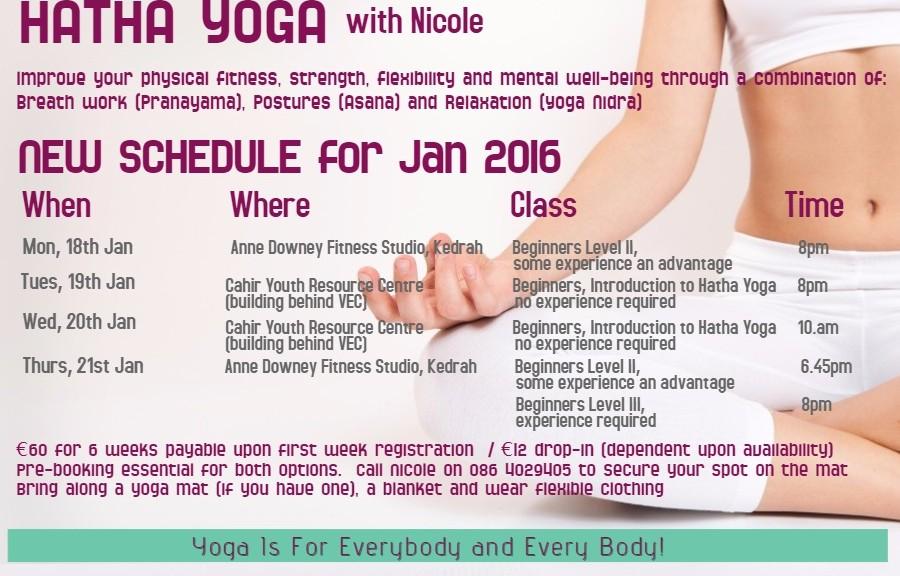 u yoga class schedule